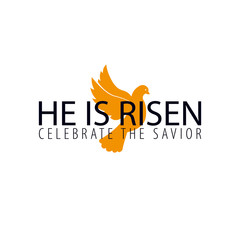 He is Risen. Church easter logo, emblem, labels or stickers with dove. Vector graphics