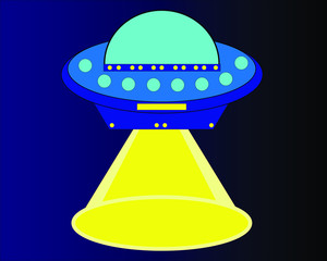Blue alien spaceship with a ray of bright yellow light, space travel, flight, universe