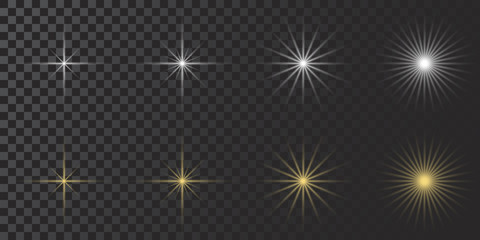 Vector glowing lights effect, flare, explosian and stars. Special Set effect isolated on transparent background.White. Gold. Yellow.