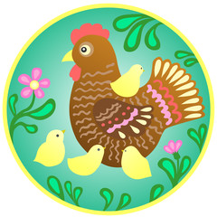 vector family, brown hen with yellow chickens. circle logo