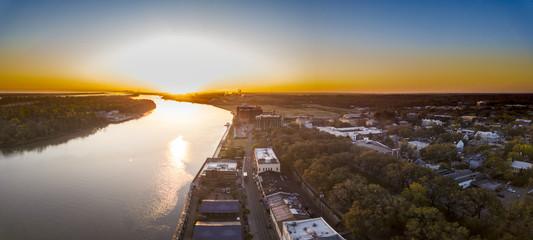 Aerial view of River Street in Savannah, Georgia at dawn.
