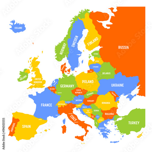 Map of Europe with names of sovereign countries ministates and