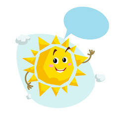 Cartoon smiling sun mascot. Weather and summer symbol. Shinning and speaking character with dummy speech bubble and little clouds. Vector illustration icon.
