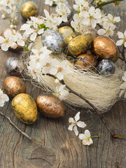 Easter eggs with spring decoration