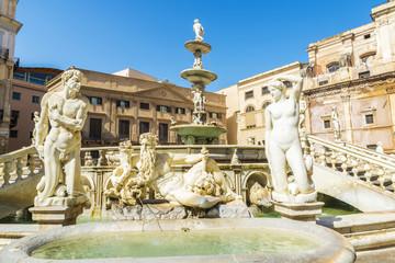 The Praetorian Fountain (Fontana Pretoria) in Palermo in Sicily, Italy