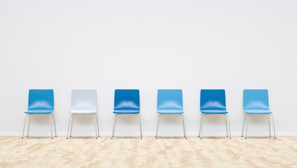 blue chairs in a waiting room, including Copy space - 3D Rendering