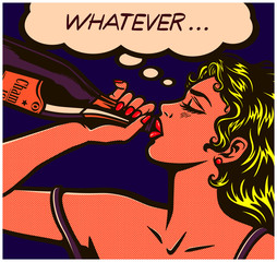 Pop art comic book careless desperate girl binge drinking to drown her sorrows champagne bottle alcohol abuse vector illustration