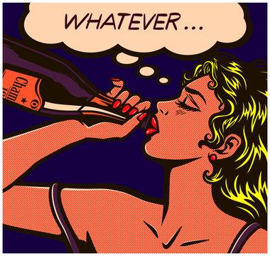 Pop art comic book careless desperate girl binge drinking to drown her sorrows champagne bottle alcohol abuse vector illustration