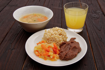 Azuki sauce with natural rice on a table