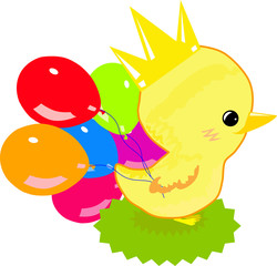 Chick in crown and balloons