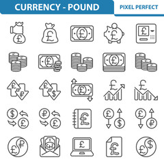 Currency - Pound Icons. Professional, pixel perfect icons depicting various finance, money and currency concepts. EPS 8 format.