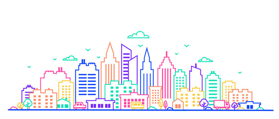 Fotomurales - City landscape. Thin line City landscape in neon glow vivid colors.. Downtown landscape with high skyscrapers. Panorama architecture Goverment buildings Isolated outline illustration. Urban life