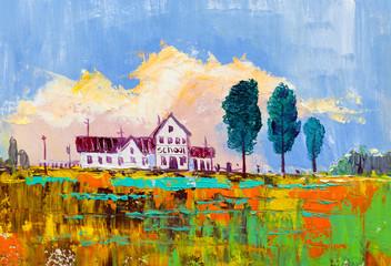 Oil painting,  school  in rural countryside