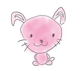 ウサギちゃん。かわいいゆるい子供が描いたイラストイメージ