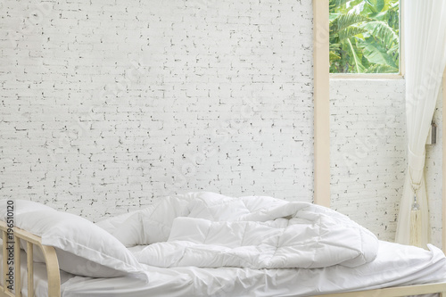 white bed sheets background. White Bedding Sheets And Pillow In Room Background. Messy Bed Concept Moring Time Background