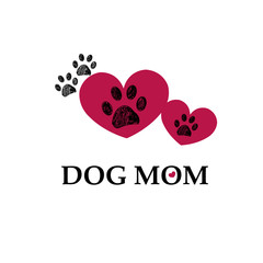 Black paw print with red hearts. Dog mom text. Happy Mother's Day background