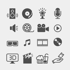 Movie flat vector icons set. Cinema flat vector icons set