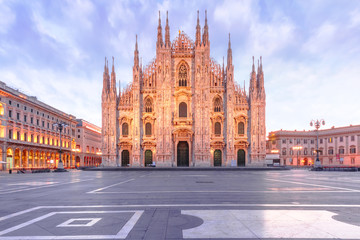 Piazza del Duomo, Cathedral Square, with Milan Cathedral or Duomo di Milano in the morning, Milan, Lombardia, Italy