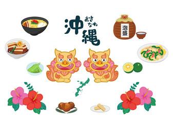 沖縄の名産・名物アイコンイラスト素材セット