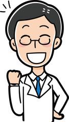 ガッツポーズをする医者のイラスト