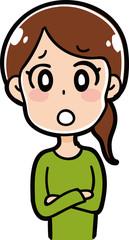 困り顔の女性のイラスト