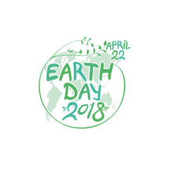 April 22. Earth Day. 2018. Round green vector template earth ball isolated on white background.
