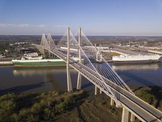 Aerial view of Talmadge bridge, a suspension bridge over the Savannah River in Georgia.