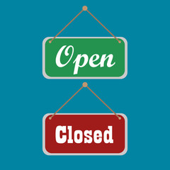 open and closed sign on blue background. vector