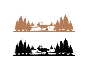 Beautiful Deer Animal on the Park Pine Tree Silhouette Symbol Vector