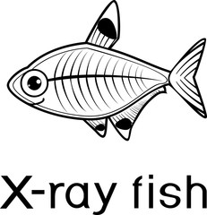 Stylized X-ray fish or Pristella maxillaris coloring page with title