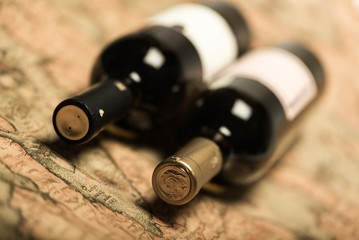Bottles of Wine on Old Map
