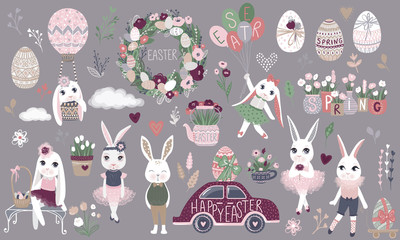 Big Set of cute Happy Easter cartoon characters and design eleme