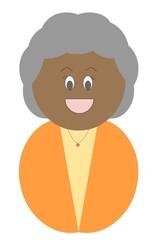 Senhora negra e grisalha vestindo roupa laranja e amarela
