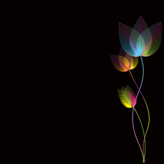 Geometrically flowers in space. Abstraction background.