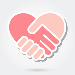 Heart handshake icon