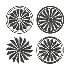 jet engine, turbine and engine blade icons