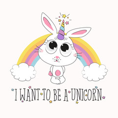 cute rabbit unicorn illustration