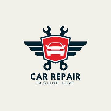 car repair service and garage logo template