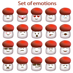 Set of emoticon. Icons cartoon mushrooms with different emotions. Emotion icons for web design. Icons of emoji.  Vector illustration of smiling fungus.