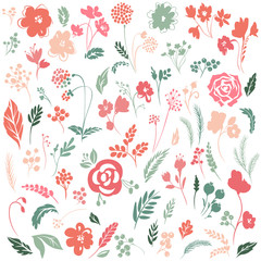 Vector set with floral elements.