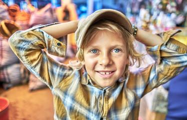 Portrait of young boy at festival, Sucre, Potosi, Bolivia, South America