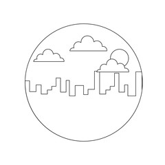 landscape urban city building morning clouds sun vector illustration thin line