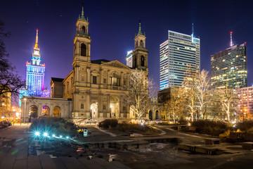 Grzybowski square at night in Warsaw, Poland