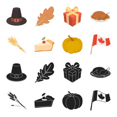 Spike of wheat, a piece of pie with cranberries, pumpkin, national flag.Canada thanksgiving day set collection icons in black,cartoon style vector symbol stock illustration web.