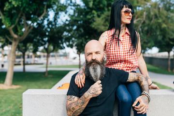 Mature hipster couple in park, portrait, Valencia, Spain