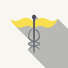 Caduceus - medical sign in modern flat style.