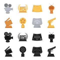 Gold pistol, silver prize for the best supporting role and other prizes.Movie awards set collection icons in black,cartoon style vector symbol stock illustration web.