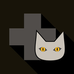 Web line icon. Veterinary medicine icon cat and cross.