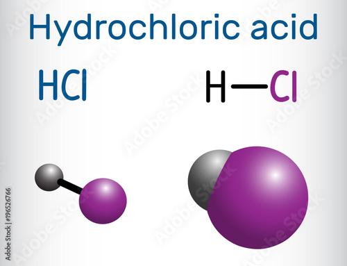 Hydrochloric Acid Hydrogen Chloride Molecule It Is A Corrosive
