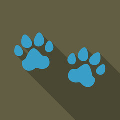 Animal footprint isolated on background. Dog paw icon or sign. Vector illustration.
